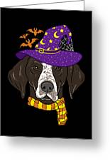 German Shorthair Halloween Witch Hat Flying Bats Greeting Card