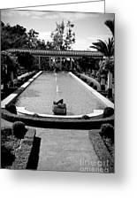 Getty Villa Massive Pool Black White Landscape  Greeting Card