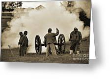 Gettysburg Battlefield - Confederate Artillerymen Firing Cannon Greeting Card