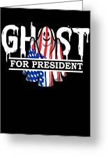 Ghost Elected Cute Halloween Spirit In American Flag Dark Greeting Card