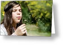 Girl Blowing Dandelion Flower Greeting Card