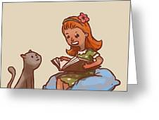 Girl Reads Book To Cat, Vector Greeting Card