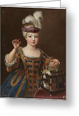 'girl With A Bird Cage'. Ca. 1712. Oil On Canvas. Greeting Card