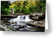 Glade Creek Grist Mill Waterfall Greeting Card