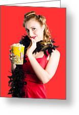 Glamorous Woman Holding Popcorn Greeting Card