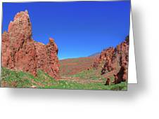 Glowing Red Rocks In The Teide National Park Greeting Card