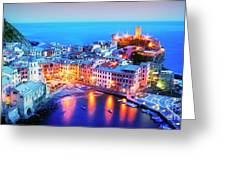 Glowing Vernazza Greeting Card by Scott Kemper