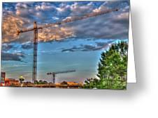 Going Up Greenville South Carolina Construction Cranes Building Art Greeting Card