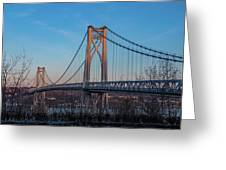 Golden Hour At Mid-hudson Bridge Greeting Card