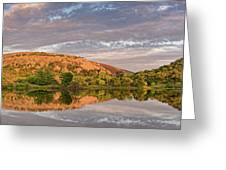 Golden Hour Contemplation At Moss Lake - Enchanted Rock Fredericksburg Texas Hill Country Greeting Card
