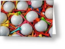 Golf Balls And Colorful Tees Greeting Card