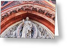 Gothic Relief Sculpture On Church Greeting Card by Ariadna De Raadt