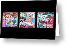 Graffitis Triptych Greeting Card
