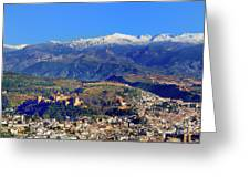 Granada, The Alhambra And Sierra Nevada From The Air Greeting Card
