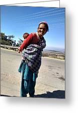 Grandchild And Grandmother Shimla Himachal Pradesh Greeting Card