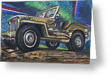 Grandpa Willie's Willys Jeep Greeting Card by Eric Dee