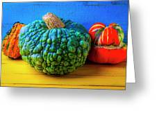Graphic Autumn Pumpkins And Gourds Greeting Card