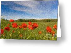 Grassland And Red Poppy Flowers 3 Greeting Card