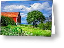 Green Bike On The Farm Greeting Card