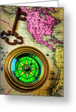Green Compass And Old Key Greeting Card