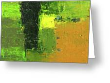 Green Envy Abstract Painting Greeting Card