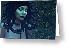 Green Eyed Medusa Greeting Card