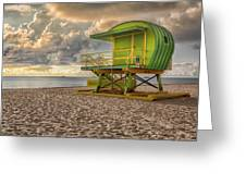 Green Lifeguard Stand Greeting Card by Alison Frank