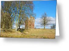 Greenknowe Tower In Late Winter Sun Scottish Borders Greeting Card