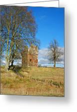 Greenknowe Tower In Winter Sun, Scottish Borders Greeting Card