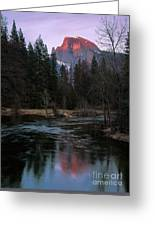 Half Dome Reflection Over Merced River At Sunset, Yosemite National Park  Greeting Card