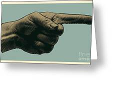 Halftone Pointing Finger. Engraved Greeting Card
