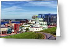 Halifax Town Clock And Halifax Skyline Greeting Card