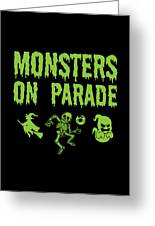 Halloween Shirt Monsters On Parade Green Gift Tee Greeting Card