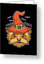 Halloween Shirt Witch Yorkshire Dog Costume Gift  Greeting Card