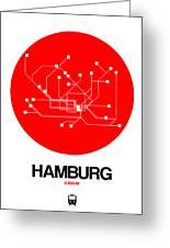 Hamburg Red Subway Map Greeting Card