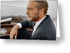Hand Colored Picture Of Paul Newman Greeting Card