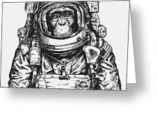 Hand Drawn Monkey Astronaut Vector Greeting Card