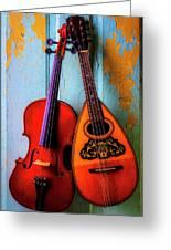 Hanging Violin And Mandolin Greeting Card