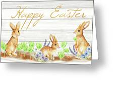 Happy Easter Bunnies (rectangle) Greeting Card