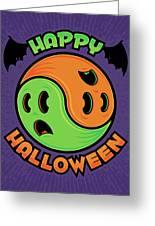 Happy Halloween Ghost Yin-yang Greeting Card