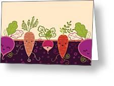 Happy Root Vegetables Horizontal Greeting Card