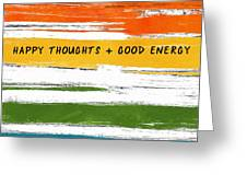 Happy Thoughts Rainbow- Art By Linda Woods Greeting Card