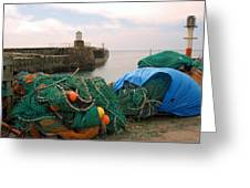 harbour pier and fishings nets at Pittenweem, Fife Greeting Card