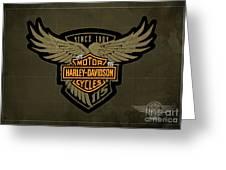 Harley Davidson Old Vintage Logo Fuel Tank Motorcycle Brown Background Greeting Card