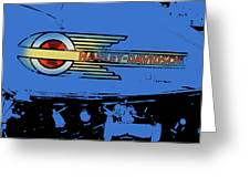 Harley Davidson Tank Logo Blue Artwork Greeting Card