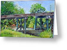 Harrison Park Bridge-ellijay River - Sun Peeking Under Greeting Card
