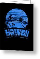 Hawaii Sunset Beach Vacation Paradise Island Blue Greeting Card