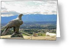 Hawk Overseeing Village. Greeting Card