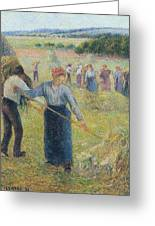 Haymaking At Eragny, 1891 Greeting Card