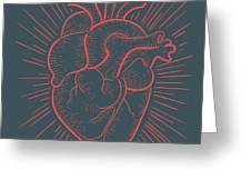 Heart On Red Greeting Card